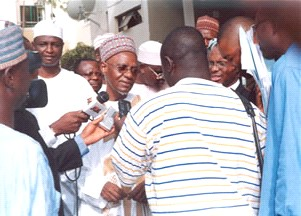 Former President Shehu Shagari at a Press event