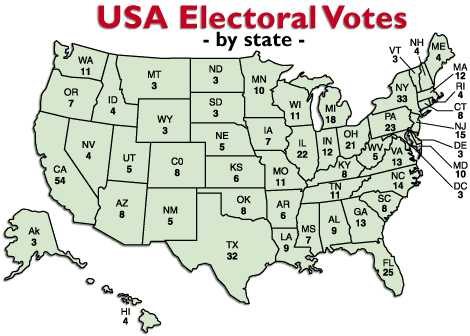 BNW USA Electoral Votes by State